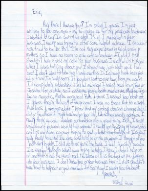 michael carneal school shooter one page handwritten apology