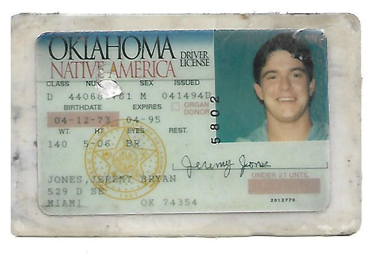 Jeremy License Premier State Jones 1994 Rare Murderabilia Oklahoma - Drivers The Website Extremely